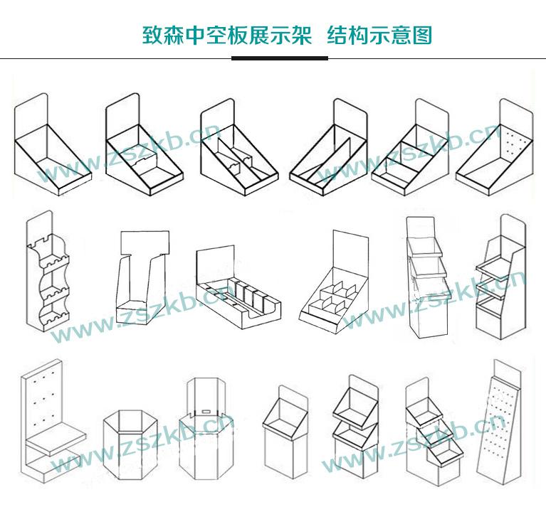 纸货架结构设计 中空板展示架结构设计【图】快速打样